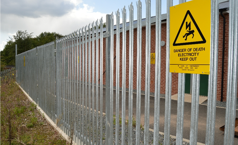 Palisade fence on a  sub station.JPG