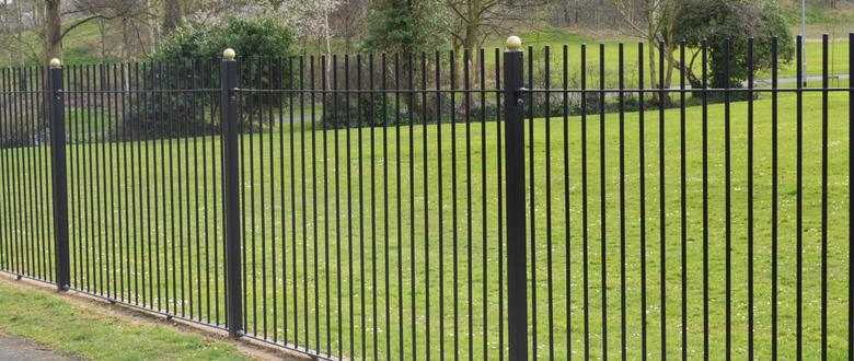 Vertical bar fencing railings security