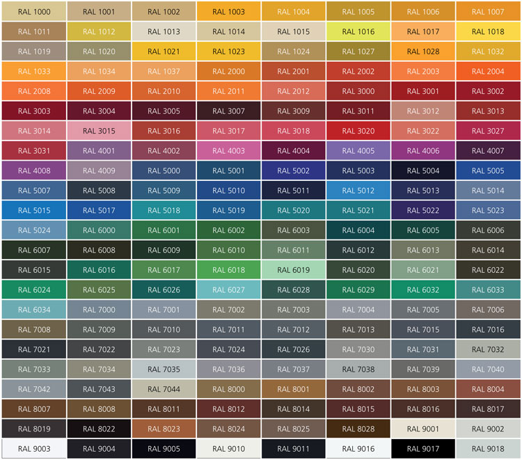 RAL colour chart for fencing – Ral Color Chart